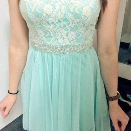 Lace Homecoming Dress,Mint Green Pr..