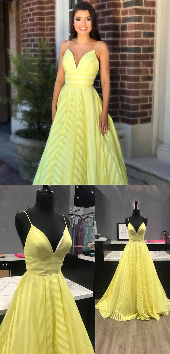 f4369e58a55 Simple Yellow Spaghetti Straps Ball Gown Prom Dresses