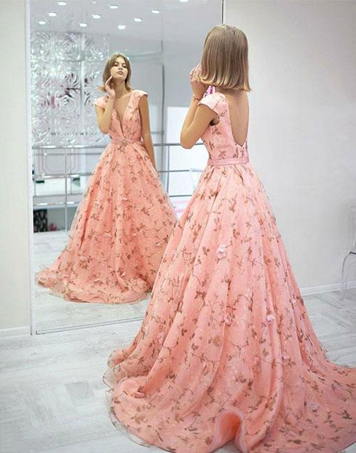 95e7936eaa Stylish Pink Floral Pattern Long Prom Dress