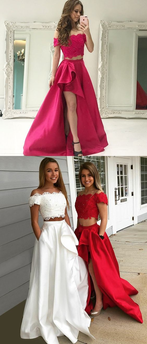 0a596a37053 Two Piece Off-the-Shoulder Short Sleeves White Prom Dress with Lace Pockets  P1679