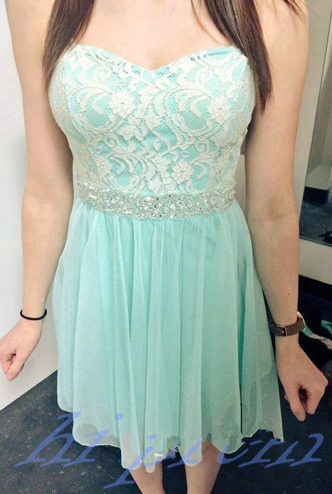 Lace Homecoming Dress,Mint Green Prom Dress,Cute Homecoming Dress,Silver Beading Homecoming Dresses,Short Prom Dress,White Lace Homecoming Gowns,Chiffon Sweet 16 Dress For Teens Girls PD20191451