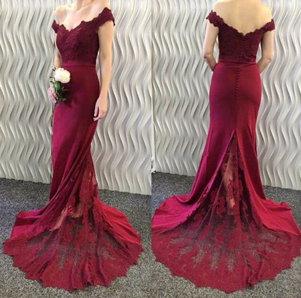 5850799c3ee Mermaid Off-the-Shoulder Burgundy Evening Dresses 2019 Lace Appliques Long Prom  Dresses PD20193303