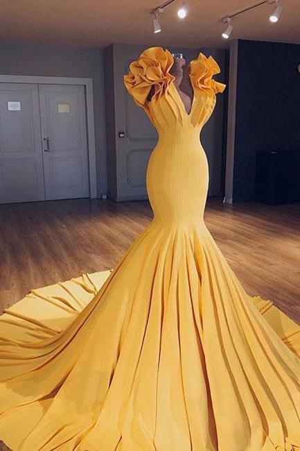 Unique yellow v neck long prom gown, evening dress PD20200844