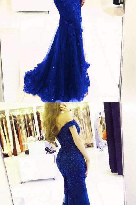 elegant royal blue lace mermaid prom dresses off the shoulder evening gowns 2019 PD20197265