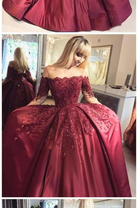 prom dresses long,prom dresses ball gown,prom dresses with sleeves,prom dresses burgundy,prom dresses lace,beautiful prom dresses,prom dresses 2019 P0717 PD20198105