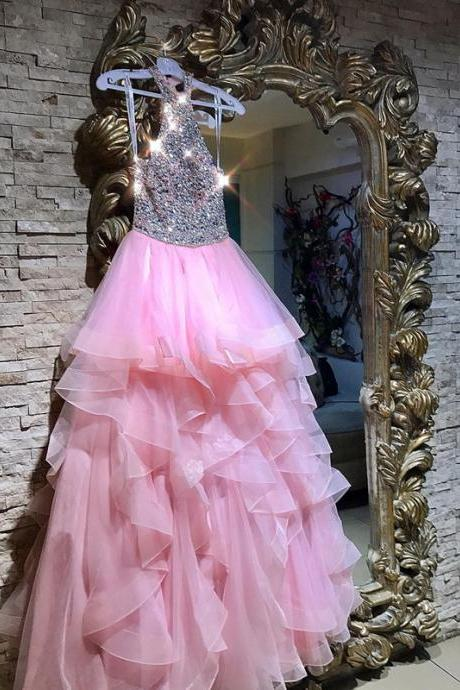 Sexy Sleeveless Prom Dress, Crystal Beaded Pink Ruffles Tulle Prom Dresses, Pretty Long Evening Dress P1167 PD20198556