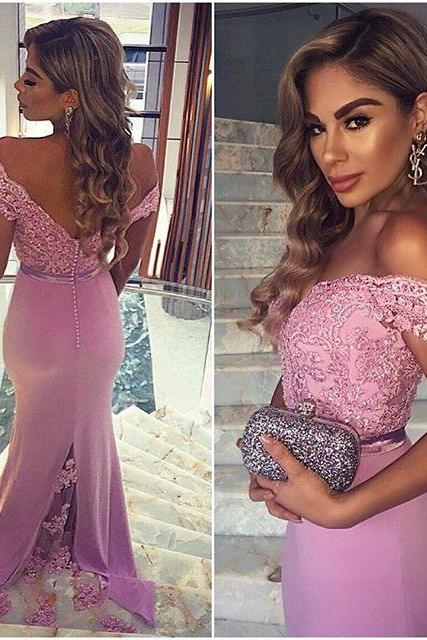 Prom Gown,Pink Prom Dresses With Lace,Off The Shoulder Evening Gowns,Mermaid Formal Dresses,Pink Prom Dresses 2019 PD20190434