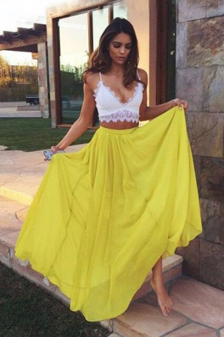 Sexy Maxi Dresses, Two Piece Prom Dress, Woman Summer Dresses, Sweetheart Yellow Chiffon Lace Prom Dresses, Long Evening Dresses, Woman Dress PD20192704