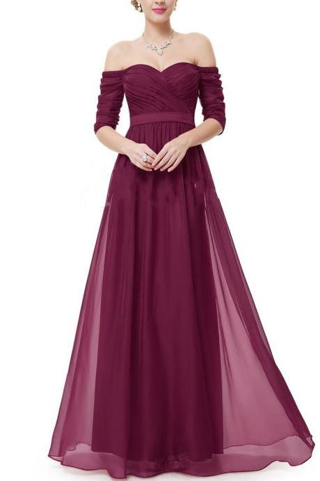 Charming Burgundy Chiffon Prom Dress, Woman Maxi Dress, Long Dress, Woman Dress for Prom, Special Occasion Dress, Formal Dress for Weddings and Events PD20192770