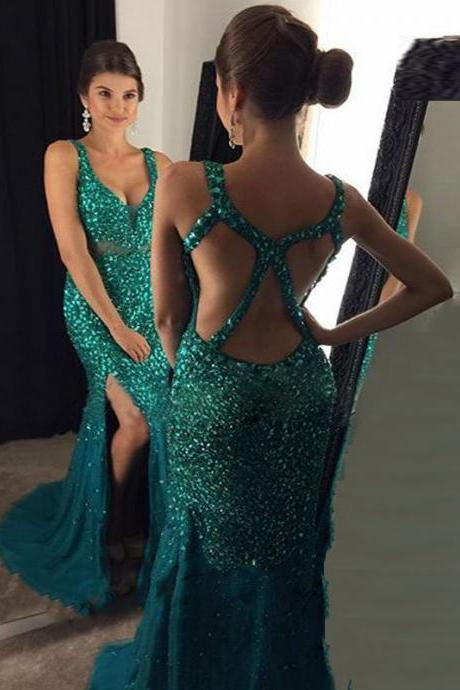 Prom Dress 2019, Beading Emerald Green Prom Dress, Backless Prom Dress, Long Prom Dress, Sexy Mermaid Side Split Gold Evening Party Gown, Vestido Longo PD20192828