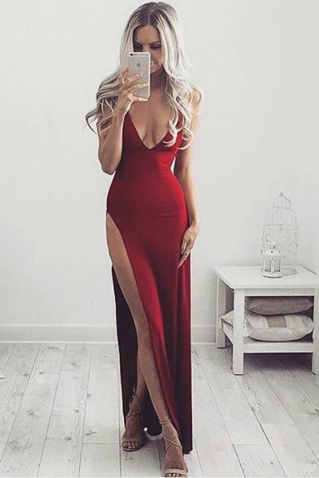 Sexy High Slit Prom Dress, Red Long Prom Dress, Woman Maxi Dress, Sexy V Neck Evening Dress, Long Formal Dress, Party Dress, Woman Dresses PD20192920