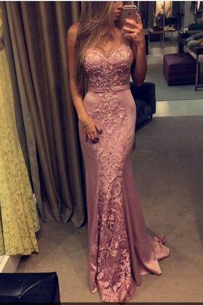 Sexy Evening Gowns Mermaid Pink Prom Dress, Pageant Gown Lace Bodice, Lace Prom gowns PD20193528