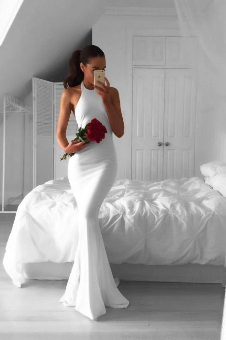 white prom dress,long mermaid dress,white evening dresses,long evening gowns,sexy backless prom dress,prom dress 2019 PD20193978