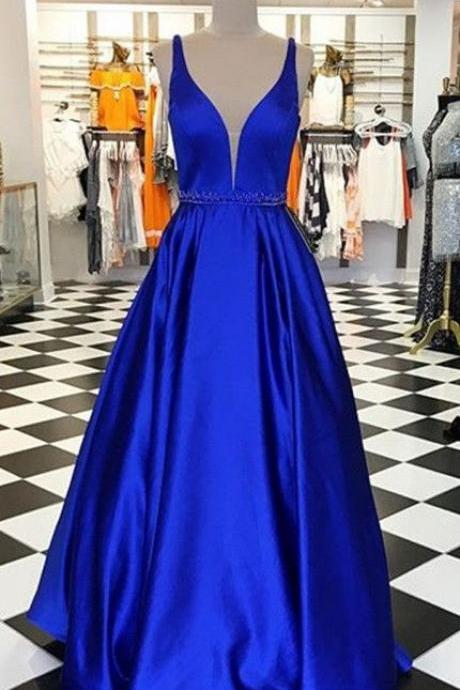 royal blue prom dresses,long prom dresses,a line prom dresses,simple prom dresses,beaded prom dresses PD20194884