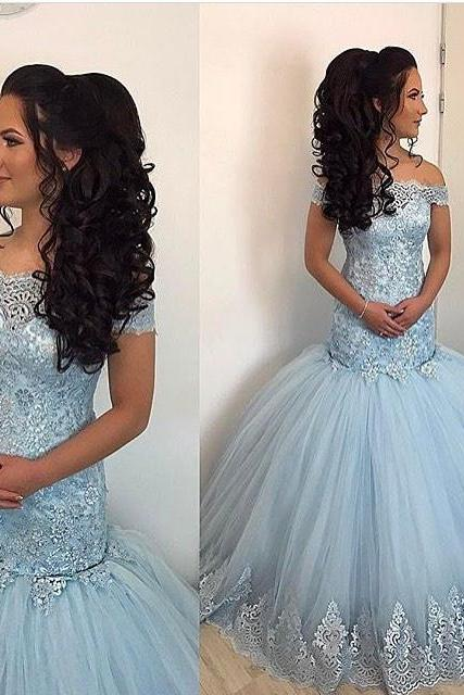 Mermaid Evening Dresses,Lace Prom Dress,Off The Shoulder Gowns,Elegant Prom Dresses PD20195019