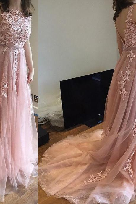 pink prom dresses with lace long prom gowns modest evening dress PD20195029